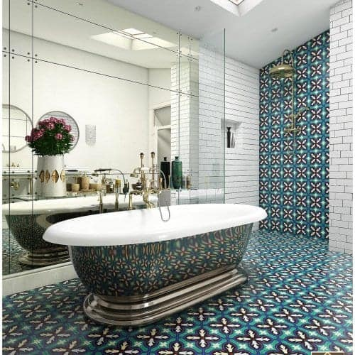 turquoise cement tile
