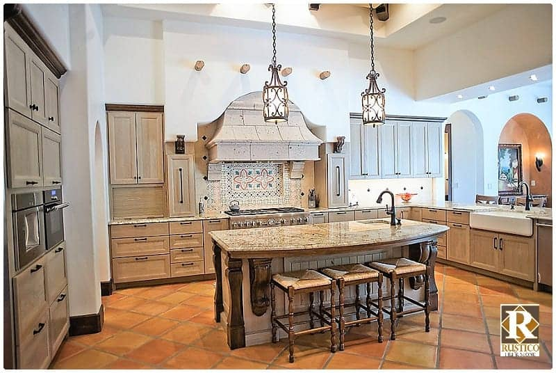 Hacienda Kitchen With Saltillo Flooring Rustico Tile Amp Stone