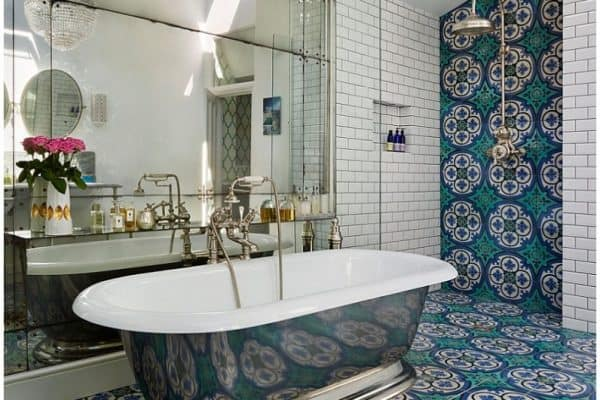 turquoise concrete bathroom tile